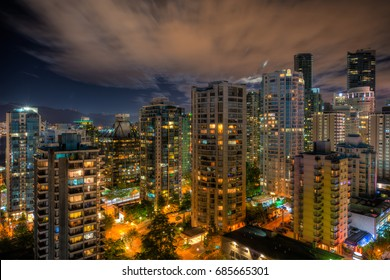 Cityscape of downtown Vancouver, British Columbia, Canada in Summer at night.