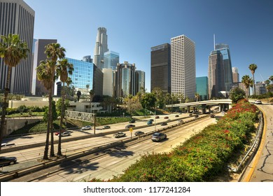 Cityscape downtown view over the freeway of Los Angeles California USA