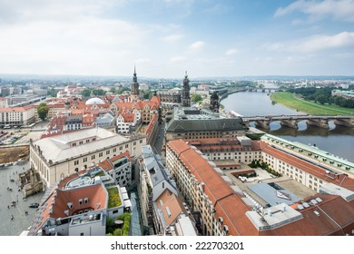 The cityscape of Dresden (Saxony) and the river Elbe.