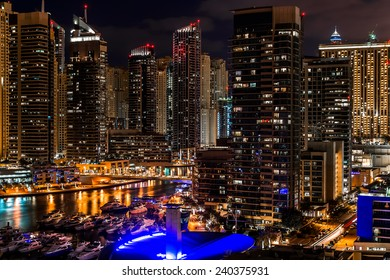 Cityscape of Dubai Marina at night