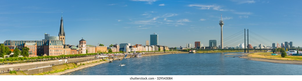 Cityscape of Dusseldorf in a sunny summer day