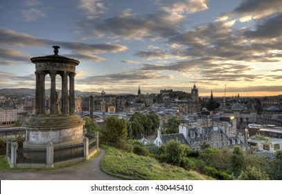 Cityscape of Edinburg city, the capital of Scotland from the Calton Hill with the Nelson Monument