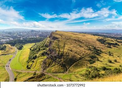 Cityscape of Edinburgh from Arthur's Seat in a beautiful summer day, Scotland, United Kingdom