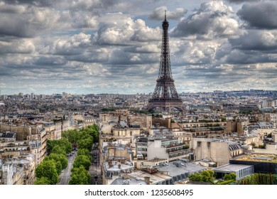 Cityscape and the Eifel Tower in Paris, France, seen from the top of the Arc de Triiomphe