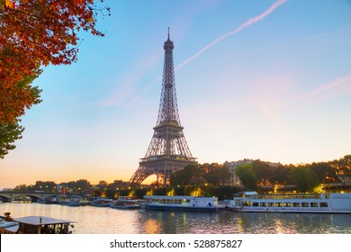 Cityscape with the Eiffel tower in Paris, France at sunrise
