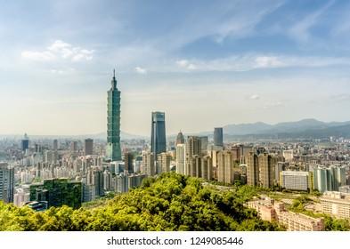 Cityscape from Elephant moutain (Xiangshan), Taipei, Taiwan.