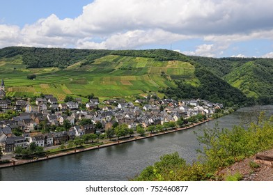 Cityscape of Ellenz-Poltersdorf at Moselle river (Germany). Traditional houses next to vineyards. Rhineland-Palatinate