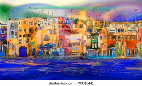 Cityscape of evening town near the sea