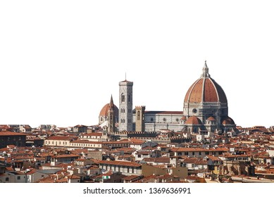 Cityscape of Florence with cathedral (formally the Cattedrale di Santa Maria del Fiore or Duomo di Firenze) isolated on white background