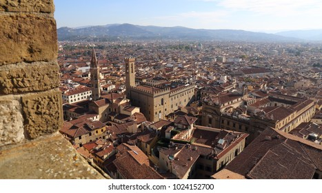 Cityscape of Florence, Italy and hills of Tuscany beyond