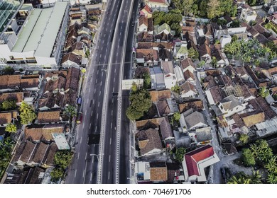 Cityscape and flyover road in Aerial Photography view