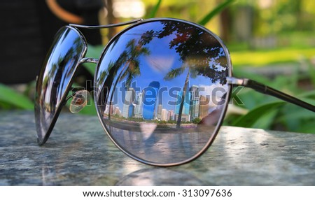 4f8b23748c Cityscape Focused Glasses Lenses Stock Photo (Edit Now) 313097636 ...