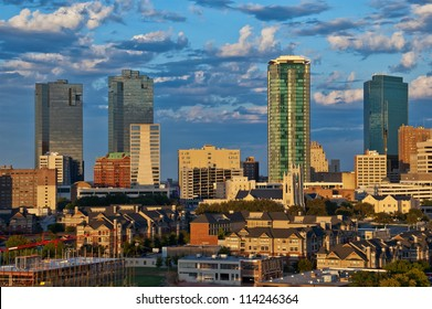 Cityscape of Fort Worth Texas in early evening light