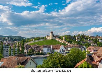 Cityscape with the fortress Munot in Schaffhausen. Canton Schaffhausen in Switzerland