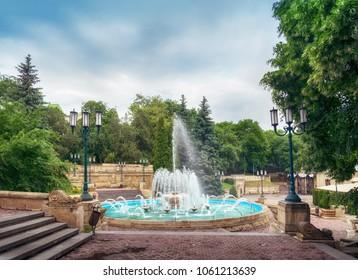 Cityscape - fountain at the Kurortniy (Glavny) Park entrance. Essentuki, Russia, 15 Juny 2017