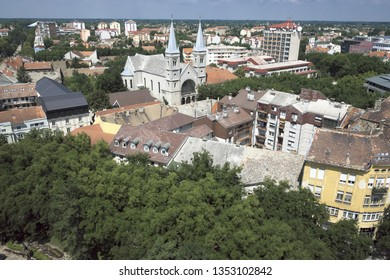 cityscape with the Franciscan Church in Subotica, Serbia