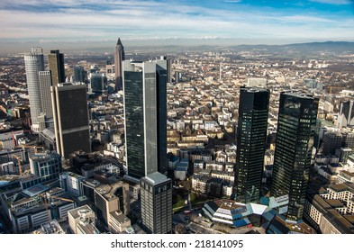 Cityscape of Frankfurt, Germany in bright sunny day - architecture background