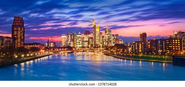 cityscape of Frankfurt am Main city in Germany. night scene
