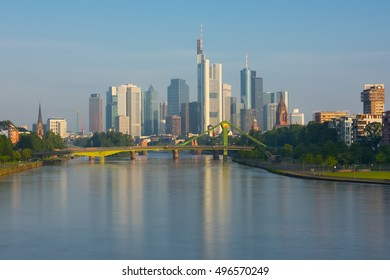 Cityscape of Frankfurt in a sunny summer morning