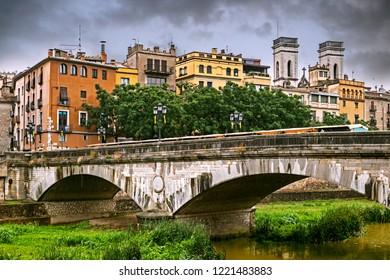Cityscape of Girona on a rainy summer day, Catalonia, Spain