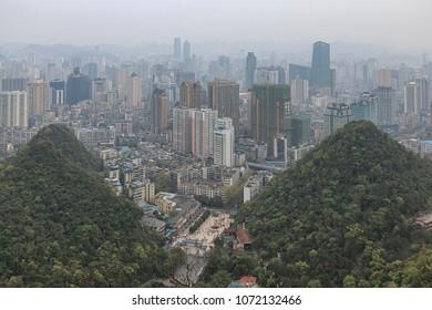 Cityscape of Guiyang at noon, Guizhou Province, China.