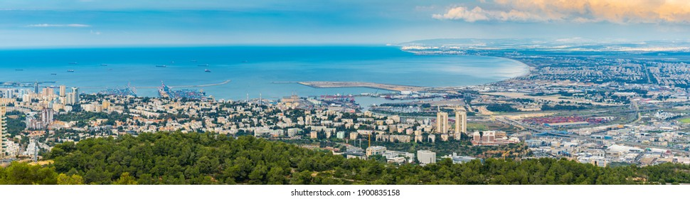 The Cityscape Of Haifa City And Metropolitan Area Panoramic View, Industrial Zone of Haifa, Aerial View,  Israel