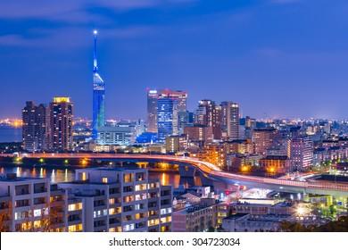 The cityscape of Hakata at twilight in Fukuoka, Japan.