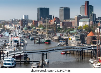 Cityscape of Hamburg with the harbor, Germany