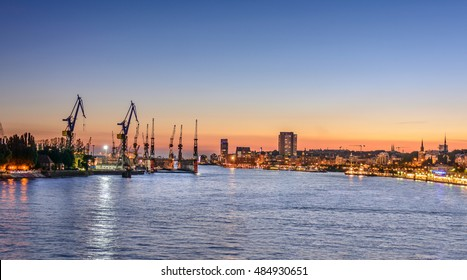 Cityscape of Hamburg with a panoramic  view to City and seaport, Germany