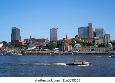 Cityscape of Hamburg, view from the Elbe river