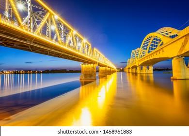 Cityscape of Harbin. Harbin Songhua River Railway Bridge. Located in Harbin, Heilongjiang, China.