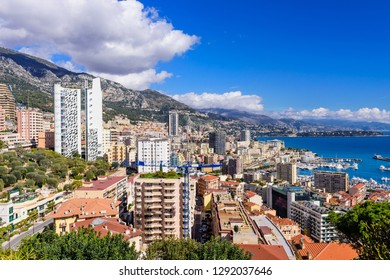 Cityscape and harbor of Monte Carlo. Aerial view of Monaco on a Sunny day, Monte Carlo, Principality of Monaco