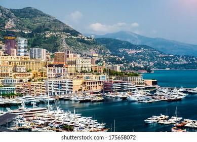 Cityscape and harbor of Monte Carlo. Principality of Monaco