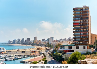 Cityscape and harbour of El Campello. El Campello is a coastal resort town on the Costa Blanca. Alicante, Spain