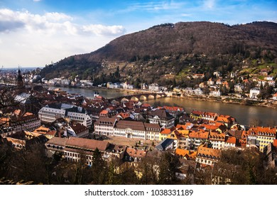 Cityscape of Heidelberg from the Heidelberg Castle on sunny afternoon of early spring, Germany.