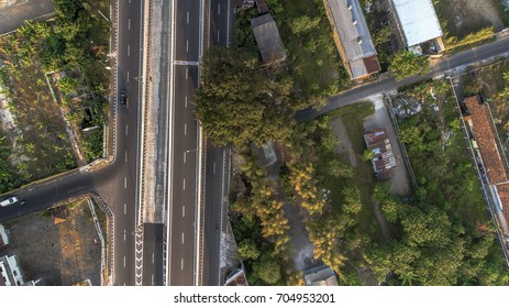 Cityscape and highway road  aerial photography from drone camera