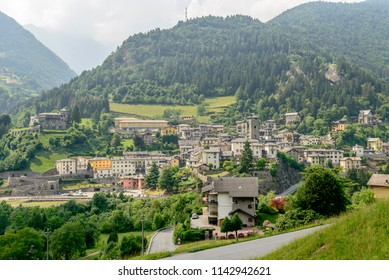 cityscape of historical mountain village, shot in bright summer light at Gromo, Bergamo, Lombardy, Italy