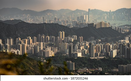 Cityscape in Hong Kong shot at golden hour from mountain with telephoto lens