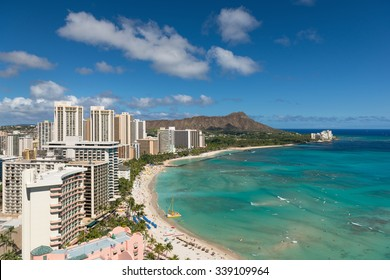 Cityscape of Honolulu city in a summer day