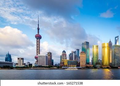cityscape of huangpu river in shanghai,China