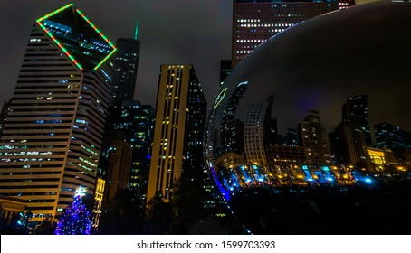 Cityscape image of chicago downtown at night during holidays.