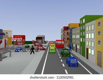 Cityscape with intersection and road sign. 3d rendering