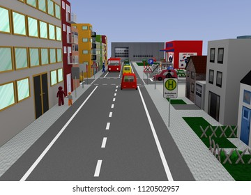 Cityscape with intersection and street signs: 3d rendering