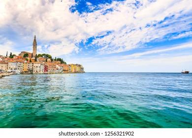 Cityscape of the Istrian village Rovinj Croatia on the Adriatic sea region. Rovinj is a popular, travel and touristic destination.
