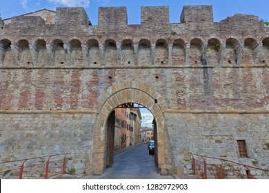 Cityscape from Italy by colle di val d elsa in Tuscany with town gate.