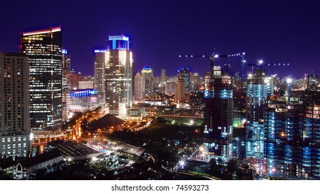 cityscape of jakarta at night