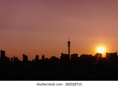 Cityscape of Johannesburg and Ponte City Building at sunset, Hillbrow Johannesburg ,South Africa.