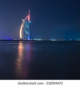 Cityscape of Jumeirah beach with Burj Al Arab Hotel. Dubai, United Arab Emirates - 15/NOV/2016