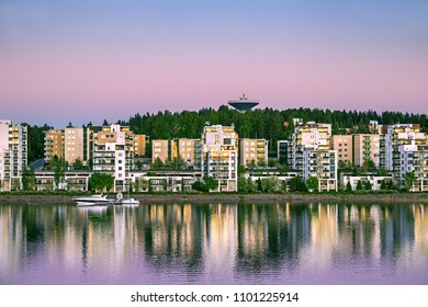 Cityscape of Jyvaskyla at summer night, Jyvaskyla, Finland.