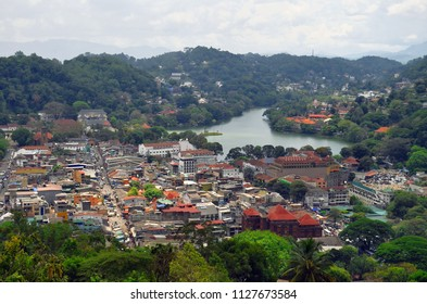 Cityscape of Kandy with the artificial lake in the background